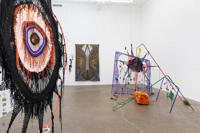 Installation view of Michelle Segre and Julia Bland at Derek Eller Gallery
