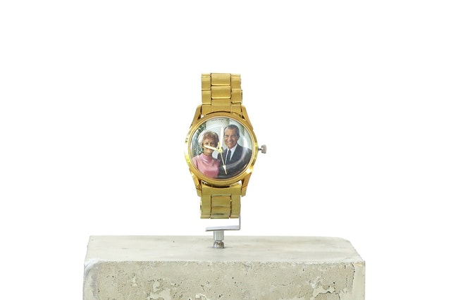 """Ignacio Gatica, """"9:08 PM,"""" 2021, collected watches and cement. Presented by CASANOVA, São Paulo at NADA House 2021"""